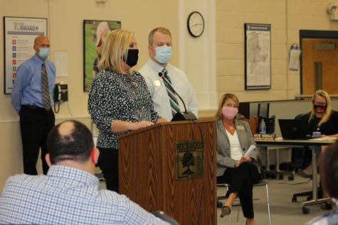 "Principal Dr. Steve Hankins and Lafayette Principal Dr. Karen Calcaterra stand at the podium during the Board of Education (BOE) meeting Thursday, Oct. 22. Dr. Hankins said spacing would allow MHS to have about three to six feet of spacing should many of the students opt to return to school. ""We'll have to use the rooms we have,"" Hankins said. ""In my building, every room is taken every hour, but we will follow the protocol."""