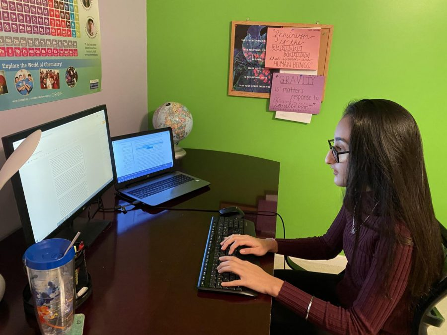 "Janvi Huria, senior, writes about online learning's racial and gender inequality and mental health factor for her upcoming blog post. ""I'm really into gender inequity in various spaces so topics like this instantly catch my eye,"" she said. Generally, Huria spends three hours researching a topic and about an hour writing and editing the post. She then has her parents read it over one last time before making an illustrated cover and finally hitting the ""post"" button."