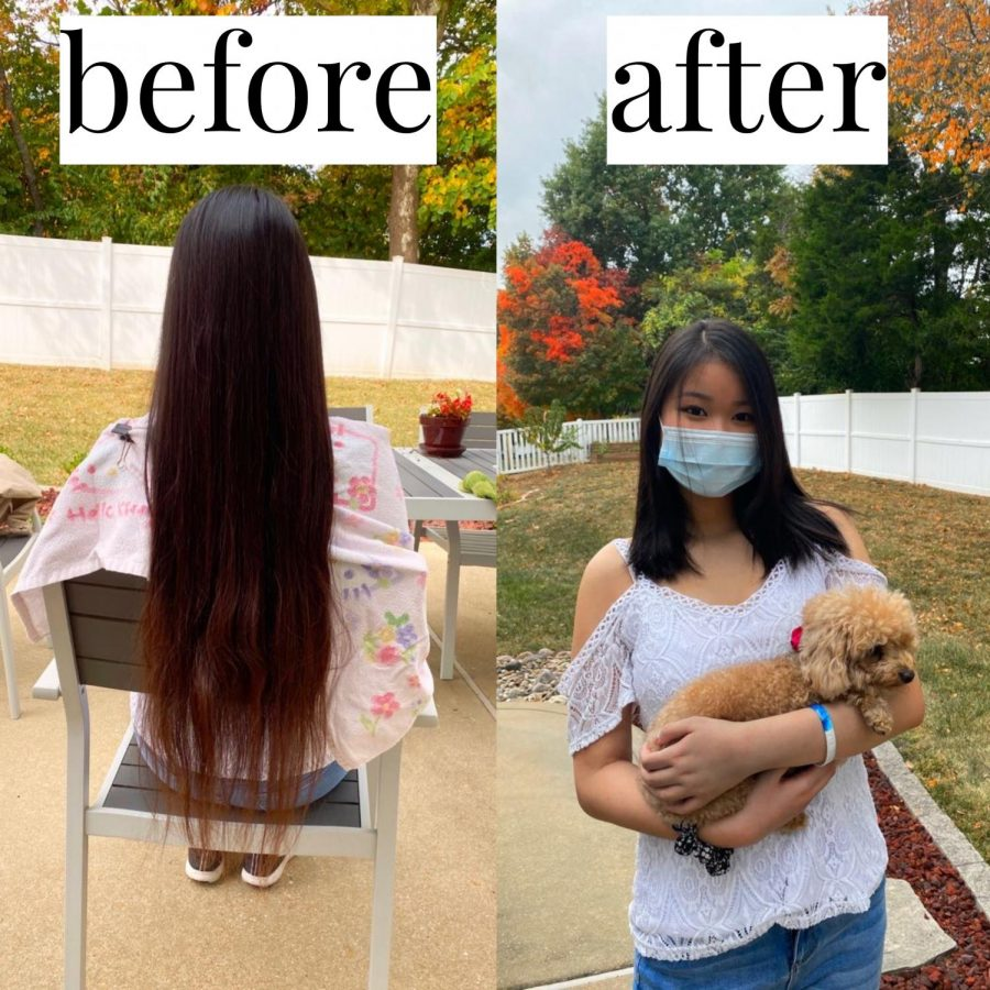 "Jenny Chiu, junior, underwent a hair change of 12 inches off her hair. ""I was actually thinking about cutting my hair, and then my friend told me that she could do it, so I thought it would be fun,"" Chiu said."