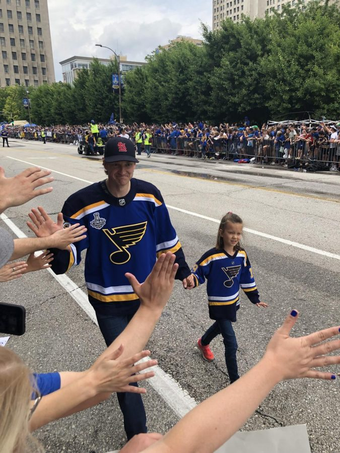Leslie Tiemeyer, FACs teacher, attended the St. Louis Blues Stanley Cup Rally on Jun. 15, 2019, where she interacted with Blues players, such as defenseman Jaw Bouwmeester. This was the last rally for the Blues before COVID-19 restricted large gatherings.