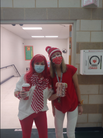 "Jennifer Holman (left) and Jacqueline Lindner (right), teachers at MHS, dress up for ""December to Remember"" spirit week."