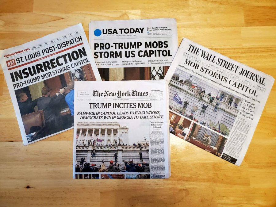 Anna Gray, social studies teachers, brought in newspapers from multiple publications to class the day after the incident at the Capitol Building. Gray said it was important to offer many resources to students to demonstrate all the perspectives of a situation.