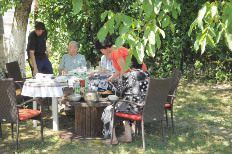 Selma Hotich, junior, and her family gather in Bosnia for lunch.