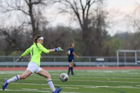 Lauren Bickel, goalie, punts the ball to midfield after making a save on a St. Joseph