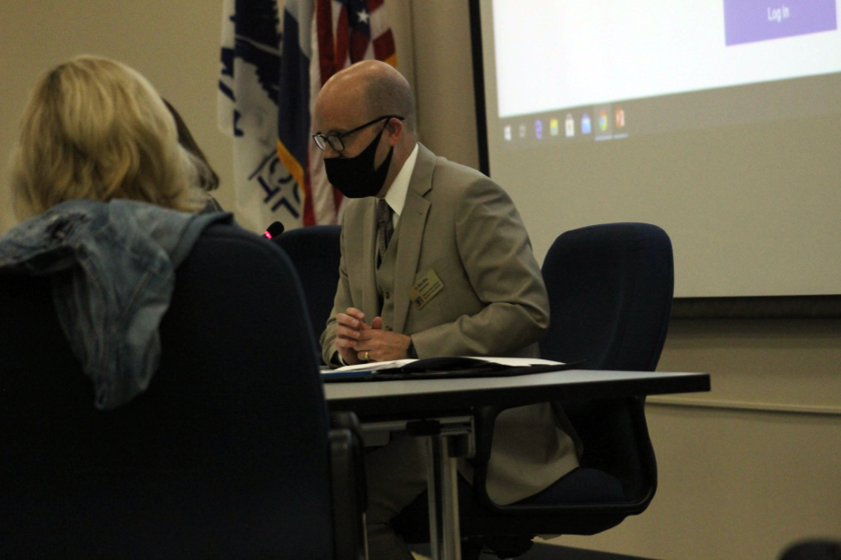 "Superintendent Dr. Mark Miles attends the Nov. 5 Board of Education (BOE) meeting last year. In a letter to the RSD community, Dr. Miles said his retirement is a bittersweet transition as his 26-year career in public education concludes. ""I am thankful for my time in Rockwood School District,"" Dr. Miles said. ""[RSD] is truly a special place with remarkable people providing exceptional opportunities for our students."""