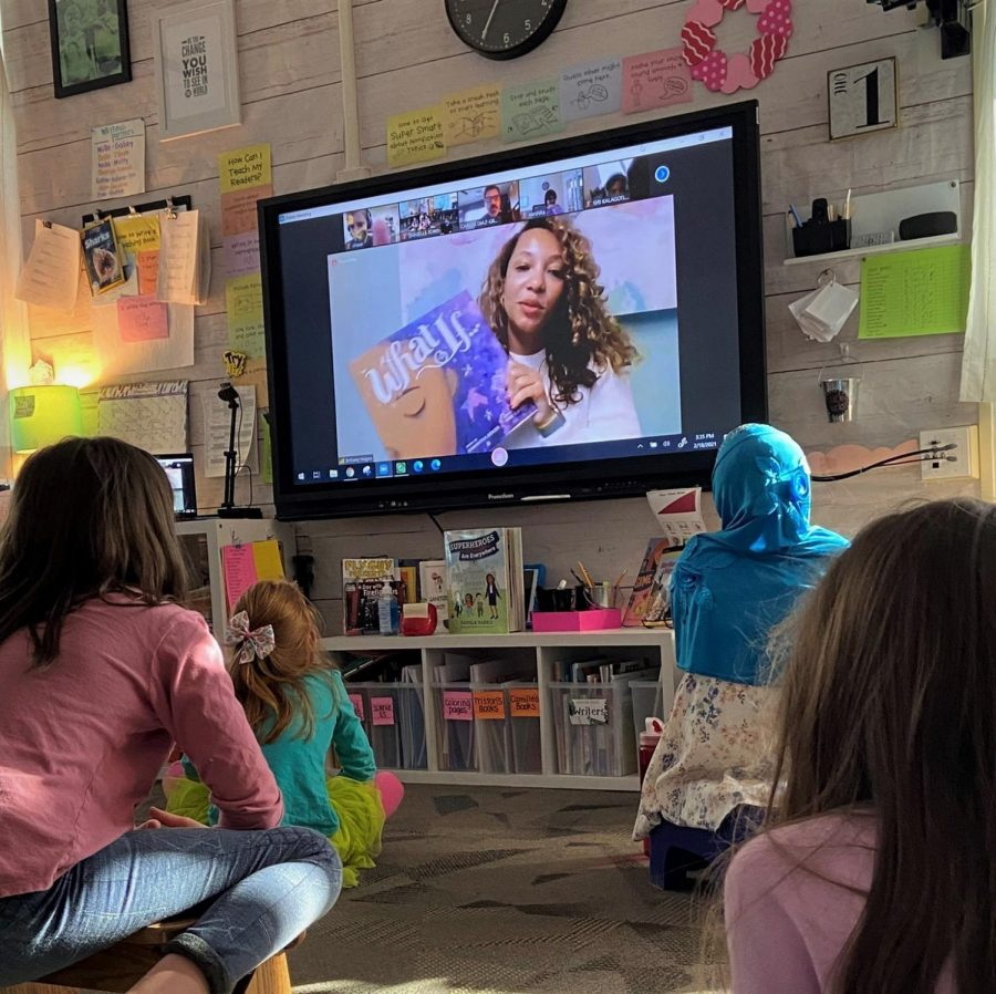 """Director of Educational Equity and Diversity Brittany Hogan has read """"What If…"""" by Samantha Berger to elementary school students, such as those in Pond Elementary, for the district's diverse read aloud initiative. """"Our curriculum continues to be a focal point of ensuring our kids are seeing reflections of themselves through windows, mirrors and sliding doors,"""" Hogan said. """"I have hopefully laid the foundation for great work to continue."""""""