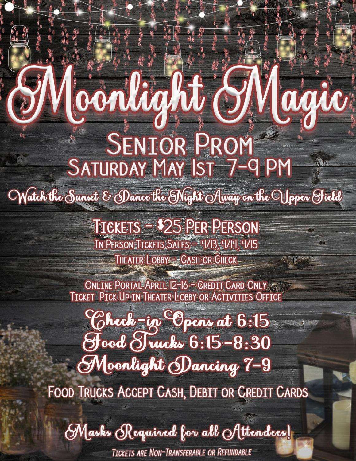 Tickets to the MHS Prom cost $25 per person and are available to purchase online from Friday, April 16, to Friday, April 23, by credit card payment only. To pay with cash or check, students should visit the Activities Office next week.