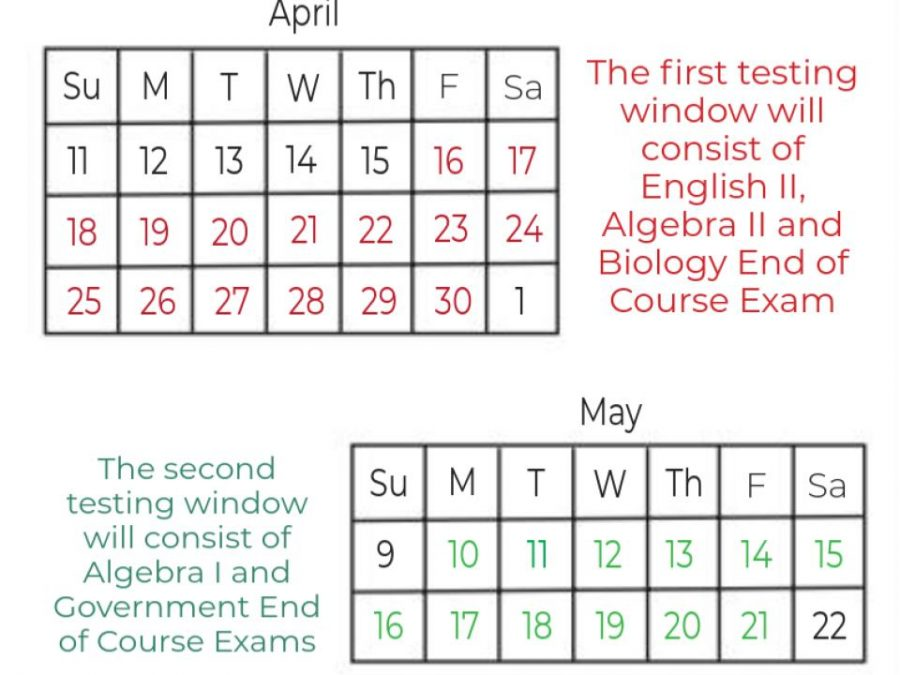 The first testing window will take place from Friday, April 16, to Friday, April 30. The second testing window will take place from Monday, May 10, to Friday, May 21.