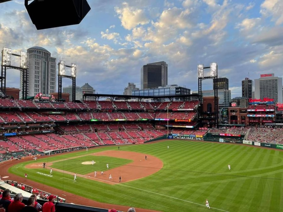 Busch+Stadium+reopened+for+the+start+of+the+baseball+season+with+only+a+small+percentage+of+their+total+capacity.+Seating+was+pretty+spread+out%2C+Adam+Withinton%2C+senior%2C+said.+I+definitely+want+to+go+to+more+games+this+season.+Hopefully+itll+be+max+capacity.
