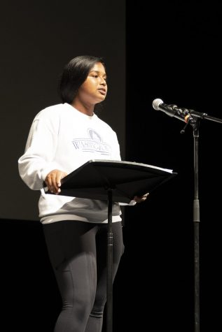 Teja Guduri, senior, prepares to deliver her speech at The Grandel during cast rehearsal the day before the show.