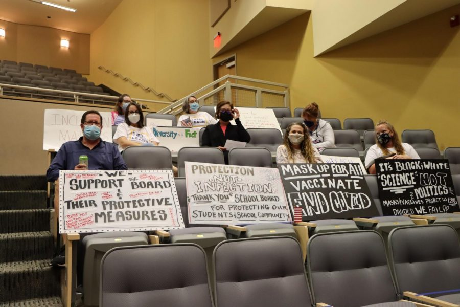 Members of the community attend the Thursday, Oct. 7, Board of Education (BOE) meeting at Lafayette to communicate their positions on the mask mandate, vaccinations and the harassment of staff in RSD.
