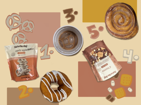 Listed from one to five are candy apple pretzels, apple cider donuts, iced brown sugar oat milk shaken espresso, smores trail mix, and a cinnamon roll.
