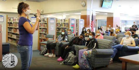 """Mindy McGinnis, author, visited MHS in September to talk about her novel """"Heroine"""". The story focuses on Mickey, a female athlete, who ends up suffering a leg injury from a car accident, which leads her to take pain medicine and become addicted."""