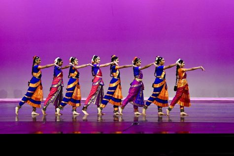 Supraja Deevi, junior, was placed in Nrithyakshetra, a Bharatnatyam dance school, by her mother when she was in seventh grade. Above is Deevi and her dance troupe in performance.